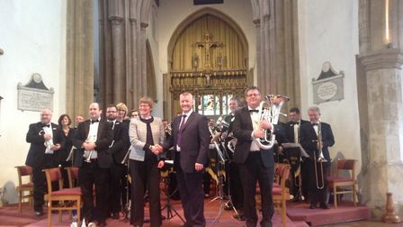 The Rector of Dereham, Canon Sally Theakston, with Leigh Sharpe, Musical Director of Cawston Band. P