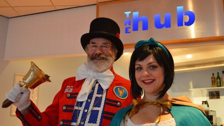 Tony Nelson with panto actress Rachel Waring. Picture: SLT