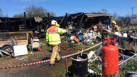 The barn fire in Sea Palling Road, Ingham today. Pictures: David Bale