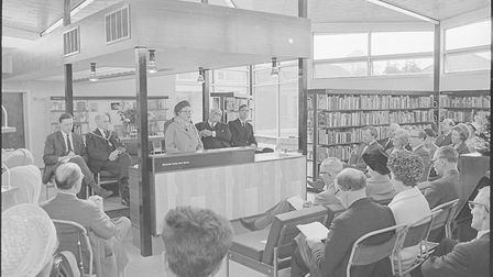 M.A.L Clifton officially opening the new North Walsham library 50 years ago. Photo: Archant