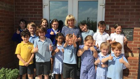 Delighted children with their head, Emma Hamilton-Smith.. Picture: supplied by Sue Traverso
