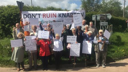Knapton residents protesting earlier this month against 14 new homes. Picture: Knapton Parish Counci