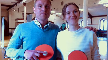 Cedric Anselin after beating Wellbeing worker Esme Henstra at table tennis. Picture: COURTESY OF RI