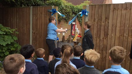 Head boys open the new outdoor education facility. Picture: St Nicholas House School