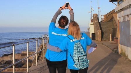 Supporters stop for a selfie during a memory walk held at Sheringham in aid of the Alzheimer's Socie