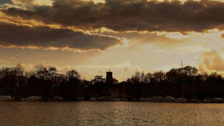 Ranworth church in the distance from malthouse broad. Photo: Melanie Westgate