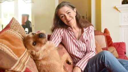Lady Hurt, wife of the late actor Sir John Hurt. Pictured with their dog Pilchard.Picture: ANTONY KE