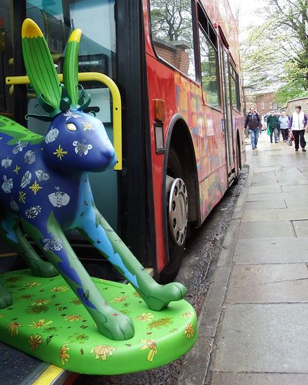 Leveret hitches a rde on sightseeing bus. Picture: Courtesy Corpusty school