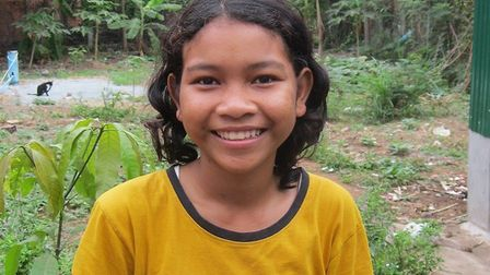 Cambodian schoolgirl Chat walks two hours to school and two hours back every day. Picture: SUPPLIED