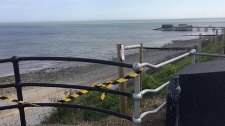 The railings have been taped off on Cromer seafront since the weekend. Pictures: David Bale