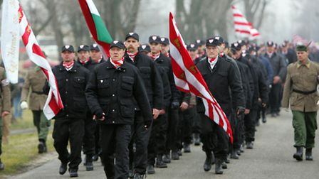 A few hundred members of the Magyar Garda, or Hungarian Guard and sympathizers of the far-right 'Job
