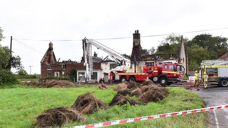 Fire crew attend the scene of a major fire at the Ingham Swan pub and neighbouring properties.Pictur