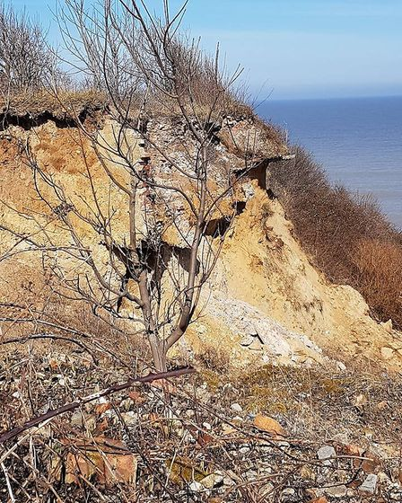 The foundations were still part of the cliffs back in March. Picture: Lynn Padmore