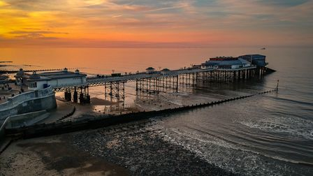 Aerial shot at low elevation of Cromer Pier. Photo: Jon Williamson