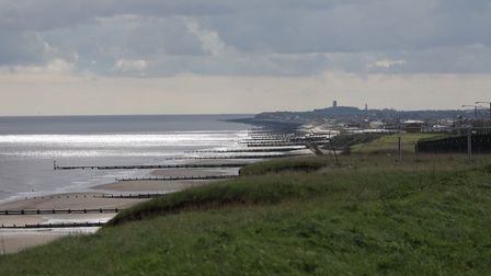 Beautiful sea view from the cliffs at Mundesley looking towards Walcot. A grey cloudy day but still