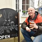 David Upton enjoys his final pint at the end of his challenge to drink in every pub in Norfolk.The f