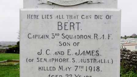Bert James' gravestone at the church. Pictures: supplied by Bob Wilkinson