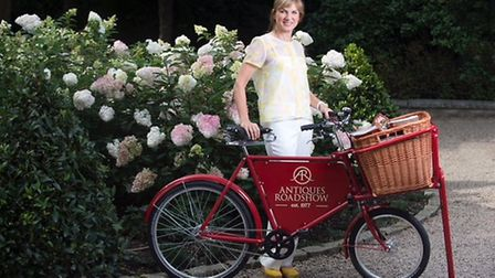 Fiona Bruce on her AR bike. Picture: BBC Antiques Roadshow