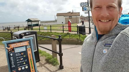 Martin Dorey, founder of the #2minutebeachclean boards, visited Mundesley. Picture: COURTESY BEACH H