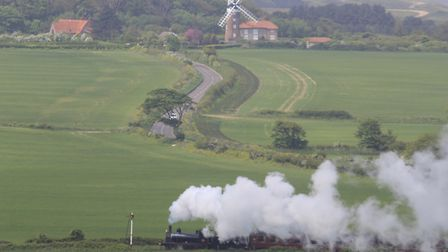 The North Norfolk railway and Weybourne mill viewed from the gazebo in Sheringham Park. Photo: Simon