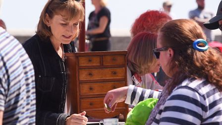 Fiona Bruce during filming of the Antiques Roadshow at Cromer. Picture: DENISE BRADLEY
