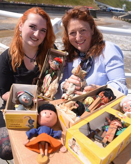 Maria Cox, from Scarning, and her daughter, Georgie, from Cromer, with some of the Pelham puppets fr