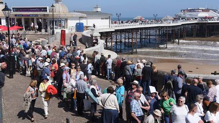 Crowds at Cromer for the filming of the Antiques Roadshow. Picture: DENISE BRADLEY