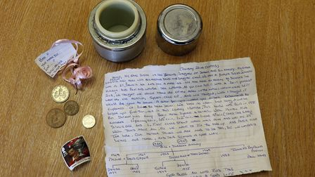 The contents of the time capsule. Pictures: Andy Newman