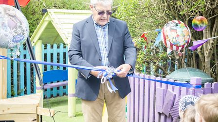 Tony Shipp opens the new playground at Seaview Pre School. Picture: PJ Photography