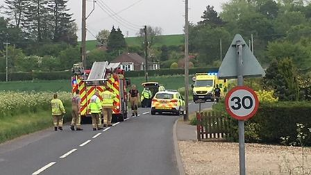 The scene of the crash in Thorpe Market Road, Roughton. Picture: STUART ANDERSON