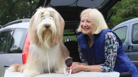 Chrissie Pellegrini, of Norwich, with her pedigree bearded collie Nutmeg at North Norfolk District C