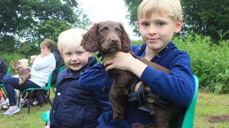 Nine-year-old Jack Bradshaw and his brother Samuel, 3, with Alfie the 13-week-old cocker spanielPhot