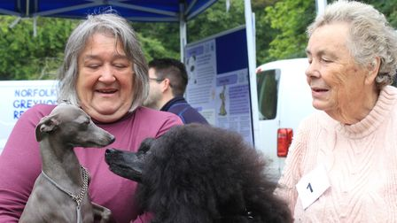 Angela Tate, of Great Yarmouth, with Eadie the Italian greyhound and Christine Yarnold, of Trunch, w