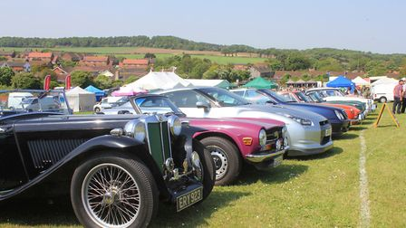 Classic cars line up for judging at North Norfolk Country FairPhoto: KAREN BETHELL