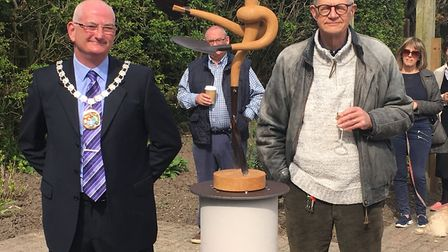 John Lee, former chairman and now leader of North Norfolk District Council, with sculpter Bob Catchp