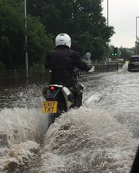 Flooding near Norwich Airport after heavy rain. Picture Nick Cameron.