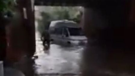 A van stuck underneath a railway bridge in Norwich Road, North Walsham. Picture: STILL FROM SUBMITTE