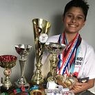 Aylsham karate kid Cameron Panday with some of his trophies and medals.Picture: Emma Panday