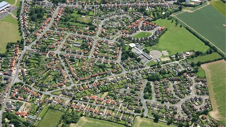 Aerial view of North Walsham in June 2005. Picture by: Mike Page