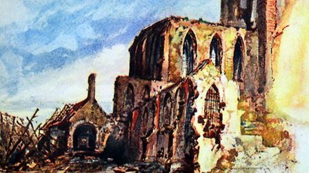 Painting by Adolf Hitler painted in Flanders during World War One, 1917