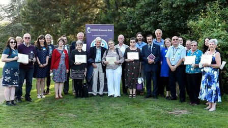 The winners of the Share Museums East volunteer awards, including Mr Seal (third from left)Photo: su