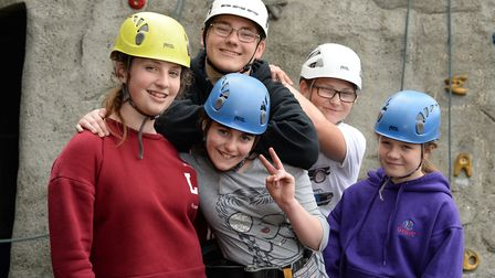 Five young carers taking time for themselves at Reach for the Skies (from left to right): Libby, Har