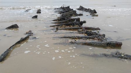 The remnants of one section of the SS Fernebo. Picture: Alison Toon
