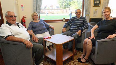 Sitting comfortably on new chairs at North Walsham New Road Bowls Club are (from left) Bryan Sadler,