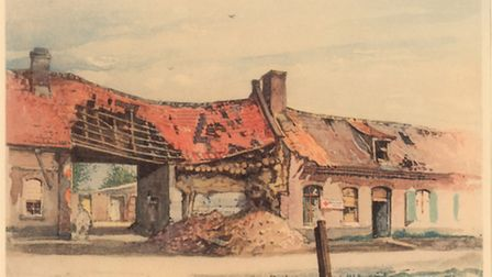"""Watercolor """"Fromelles aid station 1915"""", painted by Adolf Hitler"""