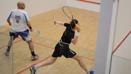 Squash Court action at Rossis, Matthew Bolt, left, and James Willstrop, right. Picture: SUPPLIED BY