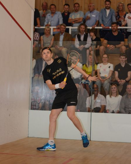 James Willstrop takes to the squash court at Rossis in North Walsham. Picture: SUPPLIED BY ROSSIS