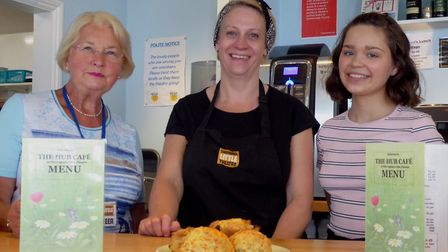 Volunteer Gill Tulley, kitchen manager Pam Long and work experience student Marta Vilka at Sheringha