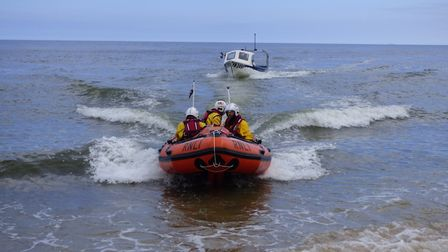 The Cromer RNLI's inshore lifeboat was called out to rescue a crab fishing boat, which had engine pr