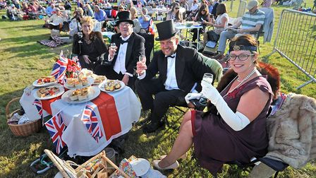 From left, Diane and Michael Rivett and Johnny and Emma Payne enjoy a Proms event at Blickling Estat